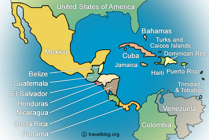 map of the caribbean and south america
